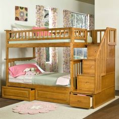 Columbia Twin over Twin Stairway Bunk Bed in Caramel Latte w/ Storage Drawers - Bed Size: Twin/Twin Finish: Caramel Latte Frame Material: Eco-Friendly Hardwood Solid hardwood motise and tenon construction 26 Steel Reinforcement Points Designed for durability Includes two 14 piece slat kits Accepts under bed storage drawers or trundle bed Guard rails match panel design www.bunkbeddeals.com