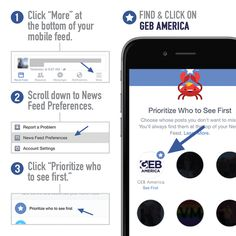 You can now stay up-to-date with our inspirational posts via your mobile phone! Follow the simple instructions in the photo below to learn how to prioritize GEB America on your news feed.