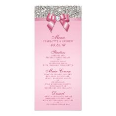Silver Sequin Pink Bow Wedding Collection Menu