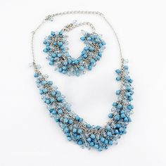 Blue Bead Tassel Silver Chain Necklace Sets - Sheinside.com
