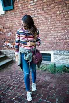 Its Good To Be A Girl Campaign Vera Bradley via Glitter & Gingham // J. Crew Sweater, J. Crew Jeans, Utility Jacket, Nike Sneakers, Vera Bradley Bag, Statement Earrings, Fall Fashion