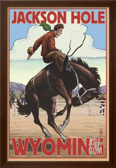 Jackson Hole, Wyoming Bucking Bronco Art Print by Lantern Press at Art.com