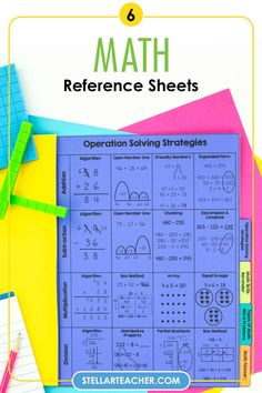 These math reference sheets are such an awesome resource to have to help your students become more independent during math block. Includes 6 reference sheets to provide your students with prompts, sentence stems, formulas, charts, vocabulary terms and other tools to help them build independence and confidence during math. These math reference sheets are a quick & easy reference for students that can be put in a binder, interactive journals or in a little booklet. Help Teaching, Teaching Math, Math Reference Sheet, Sentence Stems, Math Blocks, Interactive Journals, Math Tools, 5th Grade Math, Student Reading