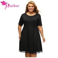Dear-Lover Plus 2XL/3XL Women Clothing Solid Burgundy V Back Lace Hemline Curvy Skater Dress Tunics Robes Vestido Casual LC61432