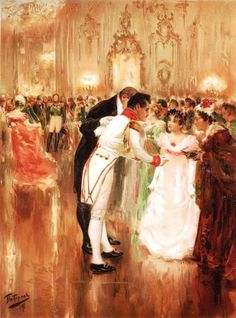 Natasha Rostova's first ball -  Illustration for Leo Tolstoy's novel 'War and Peace.' (1893)   Leonid Pasternak (1862 - 1945)