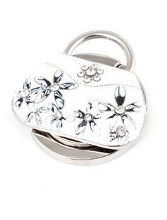Details aus Kunstleder, mit Glitzer-Handtasche Geldbörse Fower Kleiderbügel, zusammenklappbar, Weiß - http://on-line-kaufen.de/uxcell/details-aus-kunstleder-mit-glitzer-handtasche