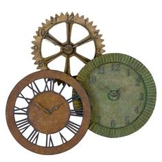 Uttermost Rusty Gears Metal Wall Clock in Red, Brown, and Sage Green Rust | Wayfair
