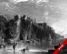 CULZEAN CASLTE & FAIRY COVES SCOTLAND ENGRAVING PAINTING ART REAL CANVAS PRINT #Realism