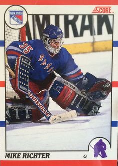 Mike Richter Score card #MikeRichter Goalie Gear, Hockey Goalie, Ice Hockey, Hockey Cards, Football Cards, Baseball Cards, Stanley Cup Champions, New York Rangers, Nhl