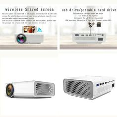 CRENOVA Wireless Connection Video Projector HD 1920*1080P Small And Po Best Portable Projector, Projector Hd, Usb Drive, Card Reading, Sd Card, Multimedia, Connection, Ships
