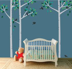 Birch Tree WALL Decal with Birds RESUABLE Wall Decal    ₪317.76 ILS