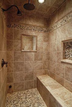 Walk In Bathroom Showers, Master Bathroom Shower, Small Bathroom, Tile Walk In Shower, Tuscan Bathroom, Craftsman Bathroom, Stone Shower, Best Bathroom Tiles, Dream Bathrooms