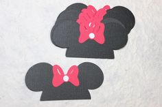 "Disney Minnie Ears Hat w/Red Bow 3"" Die Cuts 10 Textured 4 Cards,Scrapbooking #Handmade"