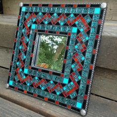 Turquoise, red and black mosaic mirror Mirror Mosaic, Mosaic Diy, Mosaic Wall, Mosaic Glass, Mosaic Tiles, Red Mirror, Mirror Work, Stained Glass Birds, Stained Glass Designs