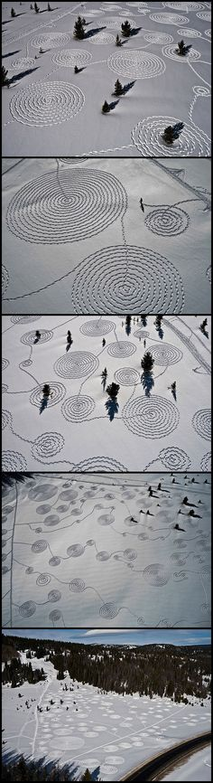 Winter's answer to Crop Circles  Snow Drawings by Sonja Hinrichsen