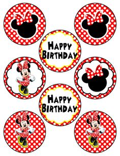 Digital Minnie Mouse Inspired Red AND Pink  Printable Birthday Party Cupcake Toppers