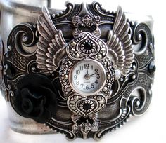 Not sure if this is more steampunk or gothic, or a combination. But either way, I am in love! Beautiful gothic bracelet!