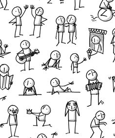 Yoga Sketchnotes, Bücher, Poster und Pins Online - New Ideas Easy Cartoon Drawings, Doodle Drawings, Easy Drawings, Doodle Art, Doodle Sketch, Stick Figure Drawing, Figure Sketching, Screen Beans, Visual Note Taking