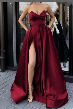 Strapless Dress Formal, Prom Dresses, Formal Dresses, Make Color, Perfect Fit, Thighs, Burgundy, Elegant, High Heels
