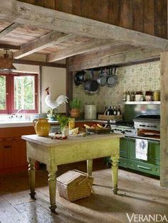 Well-Advised: Richard Keith Langham This little American farmhouse kitchen is properly rustic. And im obsessed with the chartreuse antique work table. I'm also relieved by the apparent lack of a Primitive Kitchen, Rustic Kitchen, New Kitchen, Vintage Kitchen, Kitchen Dining, Kitchen Ideas, Country Primitive, Kitchen Inspiration, Kitchen Island