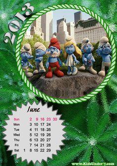 Calendário de Junho para crianças / June 2013 calendar for kids