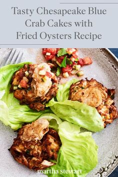 Follow our simple recipe for crisp, golden crab cakes topped with fried oysters and a fresh tomato-cucumber relish for a delicious meal this summer. #marthastewart #recipes #recipeideas #seafoodrecipes #seafooddinners #seafood Fish Recipes, Seafood Recipes, Dinner Recipes, Oyster Recipes, Fried Oysters, Tasty, Yummy Food, Crab Meat, Crab Cakes