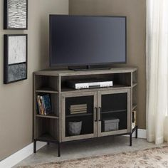 Welwick Designs Grey Wash Industrial Corner TV Console for TV's up to 52 in. - The Home Depot Corner Tv Console, Corner Tv Cabinets, Corner Tv Stands, Corner Tv Unit, Room Corner, Tv Mounted In Corner, Corner Tv Stand Ideas, Corner Media Cabinet, Metal Cabinets