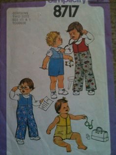 #Simplicity8717. Toddlers' jumper in two lengths, size 1/2 & 1. Copyright 1978.