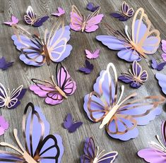 Diy Butterfly Decorations, Butterfly Birthday Party, Butterfly Baby Shower, Butterfly Wall Decor, Girl Baby Shower Decorations, Flower Wall Decor, Diy Birthday, Butterfly Mobile, Butterfly Centerpieces