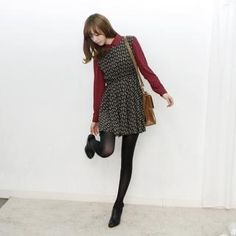 Cute dress styled with blouse & tights.