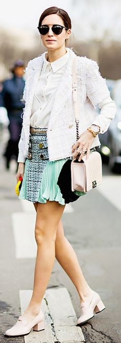 Tweed jacket + collared shirt + mini skirt + ladylike accessories