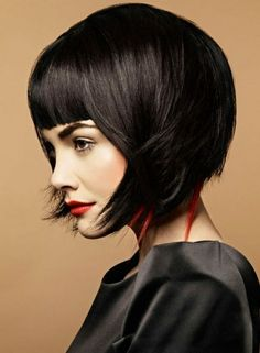 Medium length messy bob with terrific bangs-pin it by carden