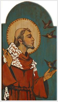 St. Francis of Assisi (1181-1226). Who doesn't love him? A saint of perfect simplicity & humility whom Christ chose to build his Church. Founder of the Franciscans who have a rule of poverty, chastity, and obedience like St. Francis exemplified. He had a great love of nature and is the patron saint of animals & ecology. Inventor of the Stations of the Cross & the Christmas nativity scene. He preached & served the poor with amazing passion. A beautiful spirituality!