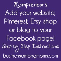 Add a tab to your Timeline Page for your business that has your Pinterest boards, website, Etsy shop, blog or any other web page you'd like.  Step by step instructiions provided by businessamongmoms.com