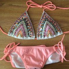 Victoria's Secret beaded embellished bikini S Beautiful beaded embellished bikini. Perfect for summer! Victoria's Secret Swim Bikinis