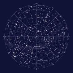 Constellation Map Indigo Art Print