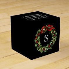 Monogram Classic Holly Wreath Custom Christmas Party Holiday Personalized Favor Box