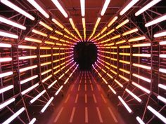 dynamic lighting on Behance - Modern Exhibition Display, Exhibition Space, Event Lighting, Neon Lighting, Stage Design, Event Design, Stage Lighting Design, Light Tunnel, Club Design