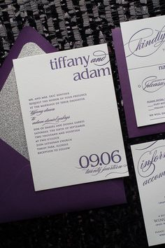 Just Invite Me, This Way to Fabulous, Inc. Schaumburg, Illinois Wedding Invitations, CYNTHIA Suite Glitter Package, diamond glitter, letterpress wedding invitation, calligraphy wedding invitation, purple and silver wedding, plum wedding, http://justinviteme.com/collections/styled-collections/products/cynthia-suite-glitter-package