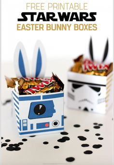Star Wars Party Ideas - These Star Wars Gift Boxes have bunny ears as a feature, so are a fantastic idea to fill with chocolates and give to your loved ones for Easter. Alternatively, you can make them as a party favour for your Star Wars Themed Party. This website offers a free printable. So thats all you have to do is download and print on cardstock from your home computer.