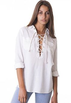 CAMIXA Womens Sexy Deep V Neck Lace up Linen Casual Collar Shirt Top Go Boho L White ** Learn more by visiting the image link.