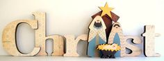 Christ Nativity Wood Letters by SweetPickleDesignsCo on Etsy, $50.00