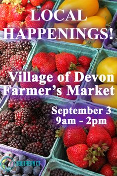 Local Happenings! Village of Devon Farmer's Market, 120 Bridgeport Ave, Milford, CT, Sunday, September 3, 9am - 2pm. Stock up on fresh produce, local crafts and more at this wonderful Sunday market! Free parking, live music, and pet friendly.