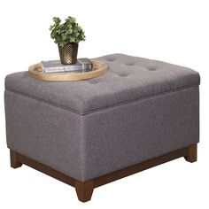 HomePop Upholstered Storage Cocktail Ottoman