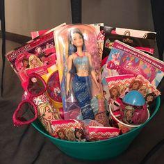 Barbie Gift Basket on Mercari Girl Gift Baskets, Themed Gift Baskets, Easter Gift Baskets, Christmas Gift Baskets, Fundraiser Baskets, Raffle Baskets, Spa Birthday Parties, 21st Birthday, Birthday Gifts