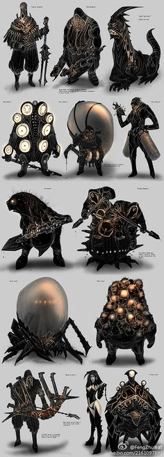 I dunno what they are (do you?), but they're plenty disturbing and a great piece of dark fantasy art. Sigh, which Board to put them one? Monster Concept Art, Fantasy Monster, Monster Art, Creature Concept Art, Creature Design, Dark Fantasy Art, Fantasy Artwork, Fantasy Creatures, Mythical Creatures