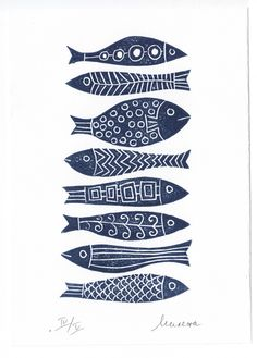 8 fishes - lino cut print by Milena Misheva