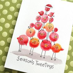 How about another card that required only minimal supplies? I just love these quirky little birds! And they're so easy to create, too! Holiday Card Series 2016 - Day 22! #kwdesignhcs2016 #kwernerdesigncards