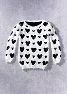 Fuzzy heart sweater.