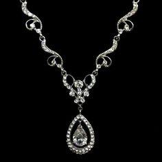 Swarovski Bridal Necklace, CZ Oval Teardrop, Fleur De Lis - HELENA